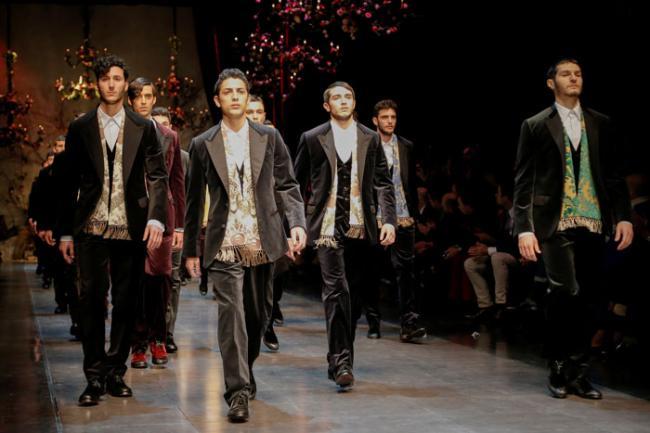Dolce e Gabbana, collezione Autunno Inverno 2013 2014, sfilata Milano Moda Uomo (font La Presse)